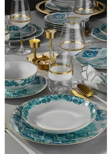 Kütahya Porselen Kütahya Porselen Isabella Altın Fileli Yemek Seti Renkli